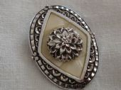 Oval Scarf Ring in Aluminium with Large Open Chrysanthemum Flower (SOLD)